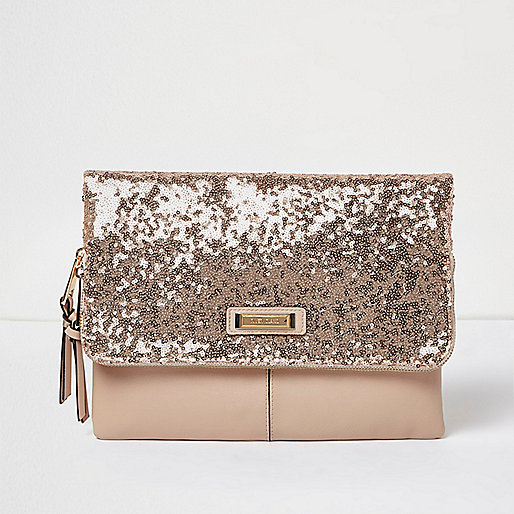 Paillettenverzierte Clutch in Roségold