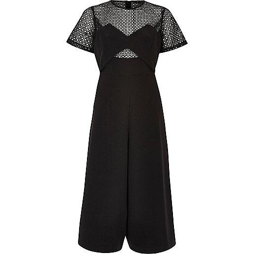 Black lace culotte jumpsuit