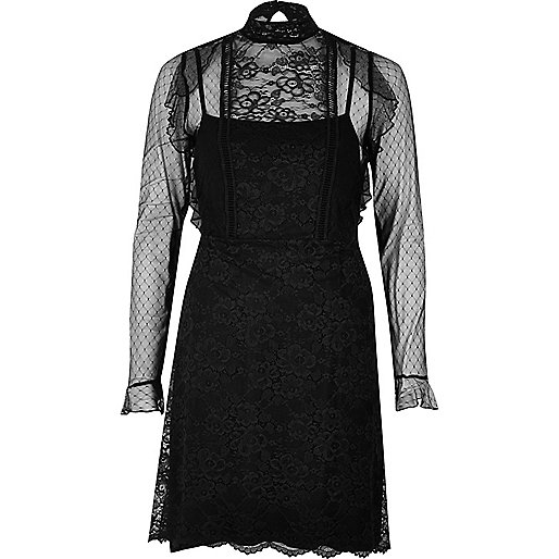 Black lace frill dress