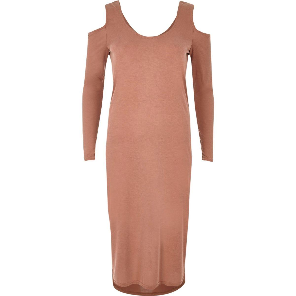 Light pink cold shoulder column dress