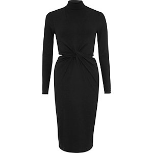 Black turtleneck cut-out column dress