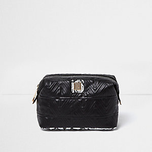Black quilted make-up bag
