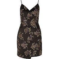 Grey floral embroidered wrap slip dress
