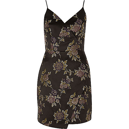 Grey floral embroidered wrap slip dress