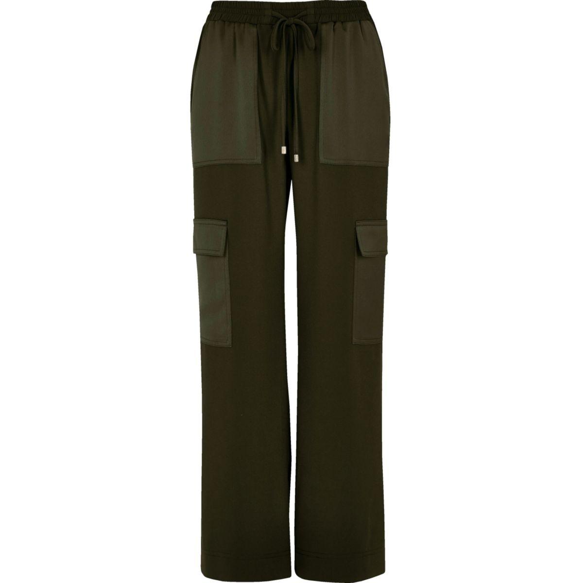 Khaki soft woven combat trousers