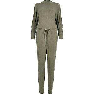 Khaki cold shoulder drawstring jumpsuit