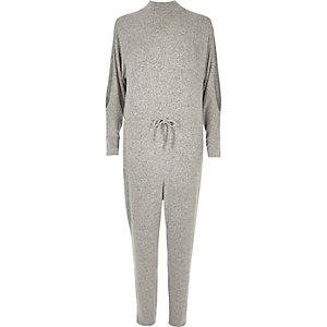 Grey cold shoulder drawstring jumpsuit