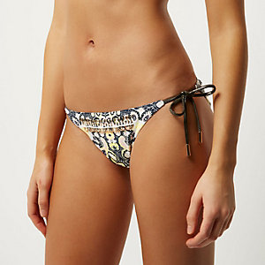 Yellow floral print embellished bikini briefs