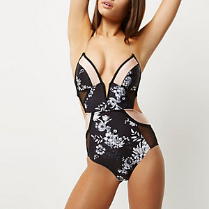 Black floral print plunge swimsuit