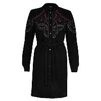 Black embellished tied shirt dress