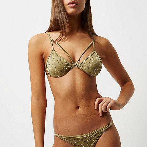 Khaki green stud strappy bikini top