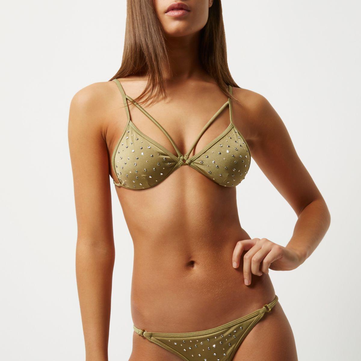 Haut de bikini clouté vert kaki à bretelles