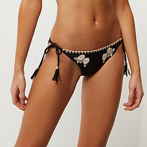 Black floral embroidered bikini bottoms