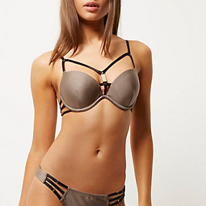 Mocha brown strappy plunge bikini top