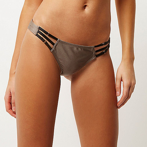 Mocha brown strappy bikini bottoms