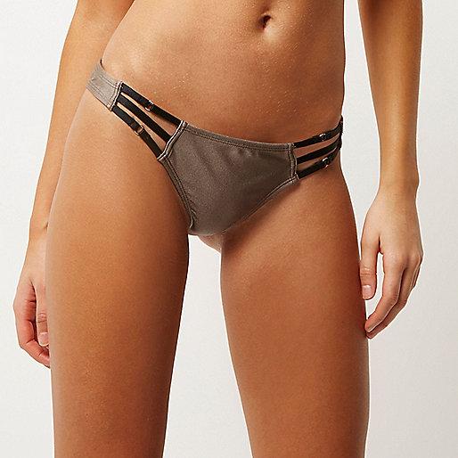 Bas de bikini marron moka à lanières