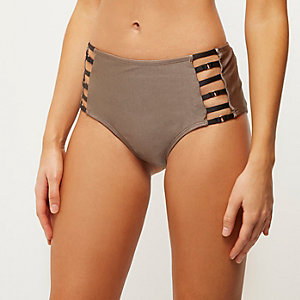 Mocha brown strappy high rise bikini bottoms