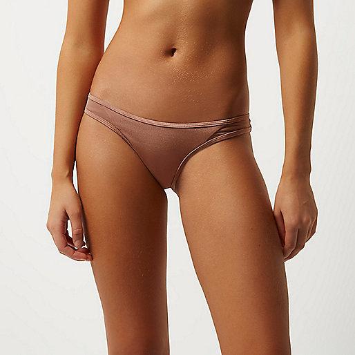 Pink mesh panel bikini bottoms