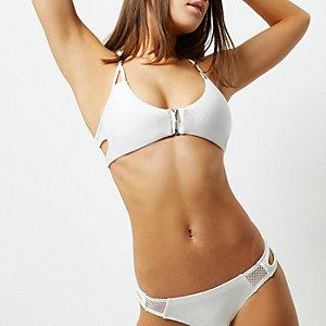 White ribbed zip front sporty bikini top