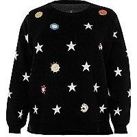 Pull noir Plus en maille orné d'étoiles