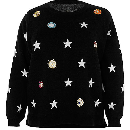 Plus black embellished star knit jumper