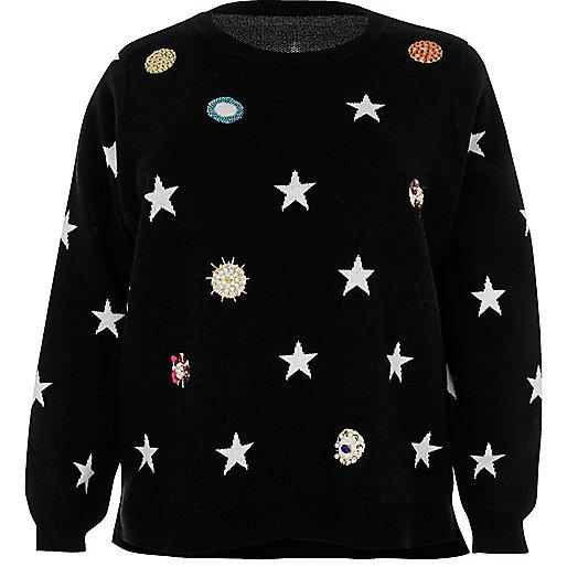 Schwarzer Pullover mit Verzierung
