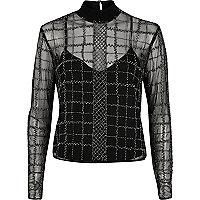 Silver grid embellished mesh top