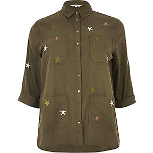 Plus khaki star embroidered shacket