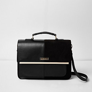 Black mixed texture panel satchel bag