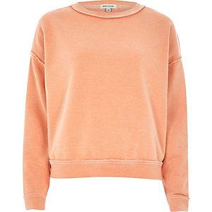 Orange washed burnout sweatshirt