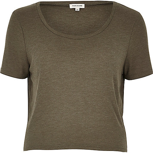 Kaki relaxed T-shirt met lage hals