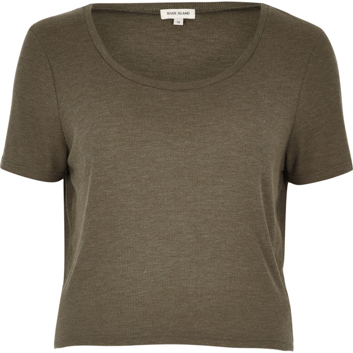 Khaki relaxed scoop neck T-shirt