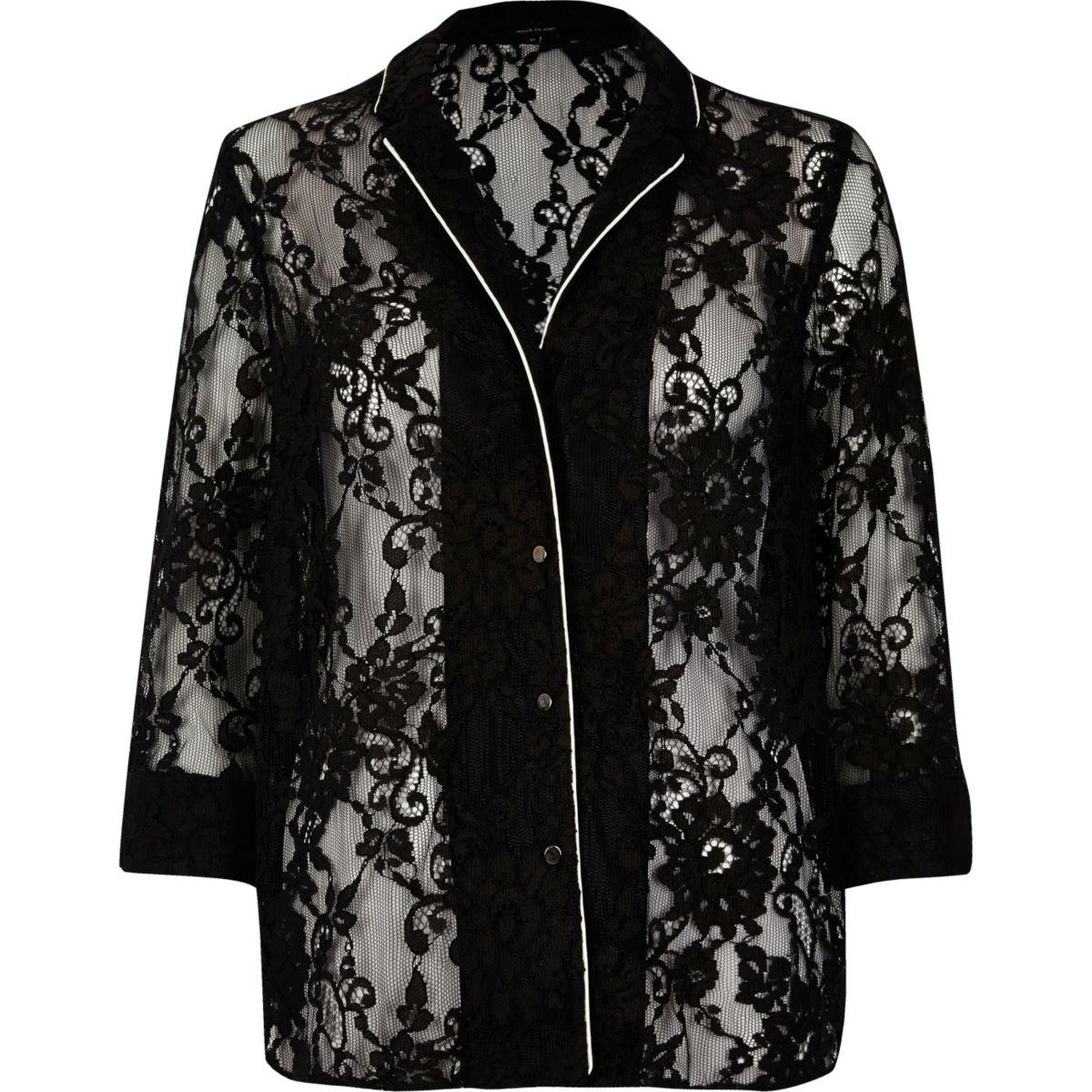 Zwart kanten overhemd
