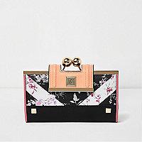 Schwarz Cliptop-Geldbörse mit Blumenmuster