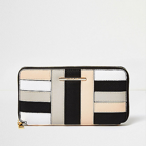 Cream block panel zip purse