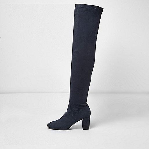 Marineblaue Overknee-Stiefel mit Blockabsatz