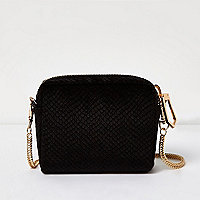 Mini sac en velours imprimé serpent noir