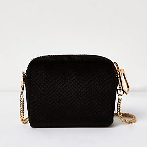 Black velvet mini cross body bag