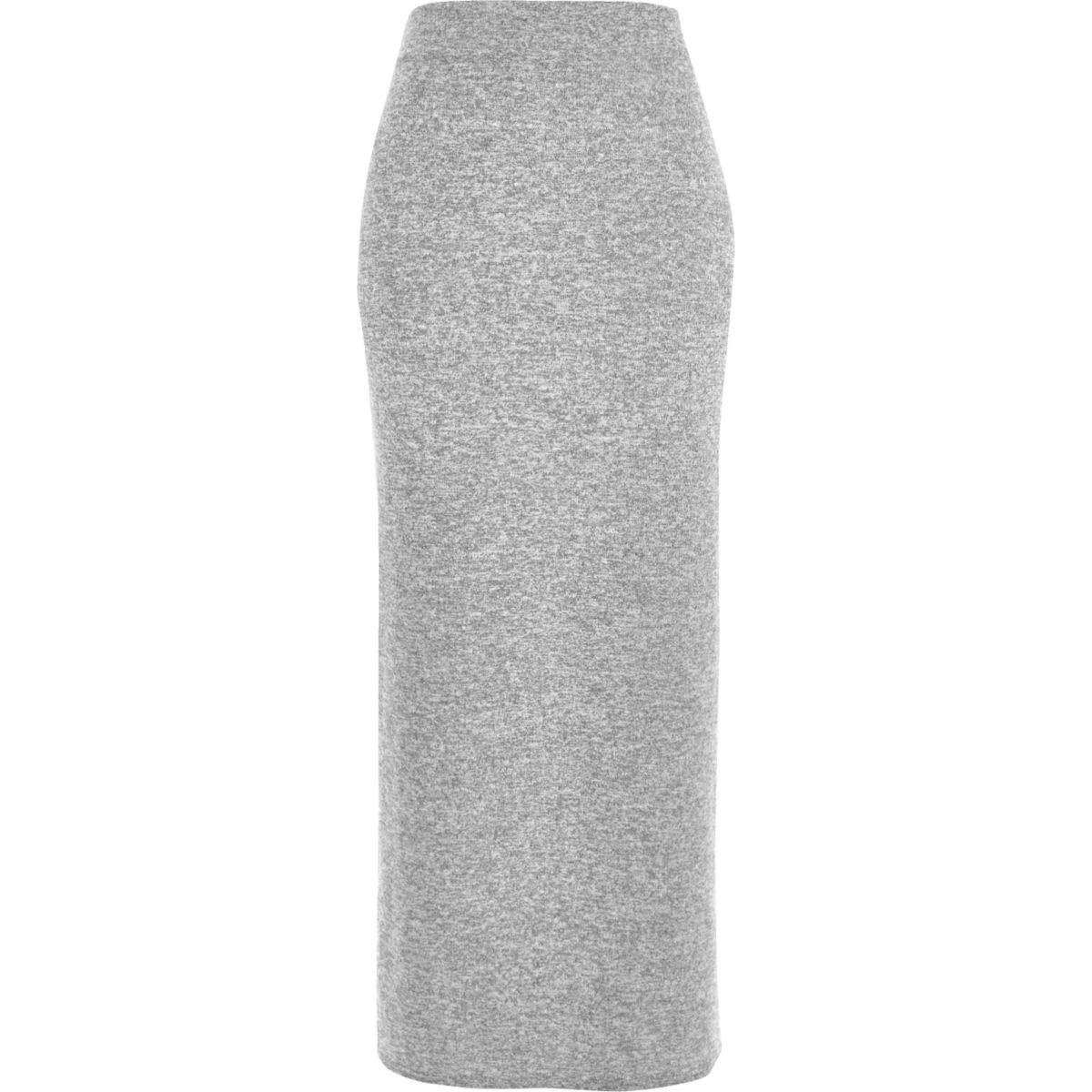 Grey marl jersey maxi skirt