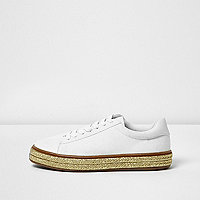 White and gold lace up trainers