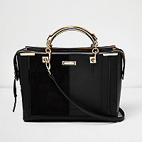 Black panel boxy tote bag