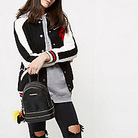 Black mini charm zip backpack