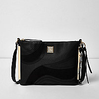 Black swirly panel cross body bag