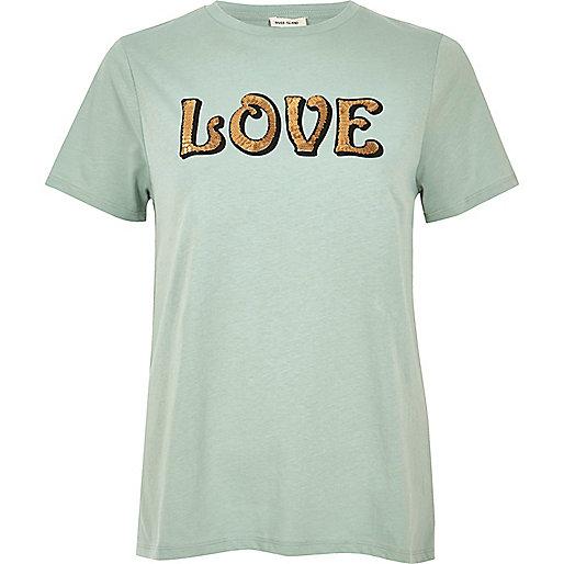 Green sequin print T=shirt
