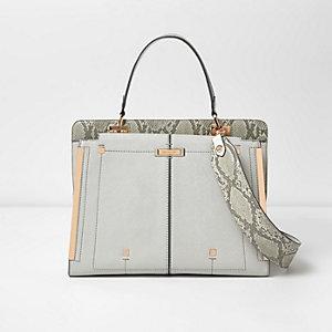 Metallic grijze handtas met slangenprint