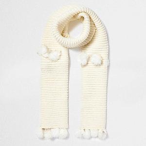 Crème gebreide sjaal met pompon