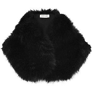 Black faux fur tippet scarf