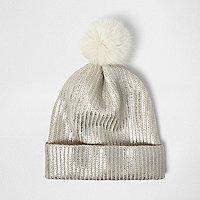 Cream silver knit pom pom beanie