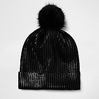 Black metallic knit pom pom beanie
