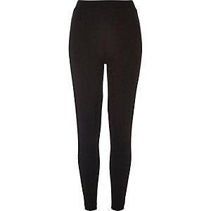 Black ponte velvet side panel leggings